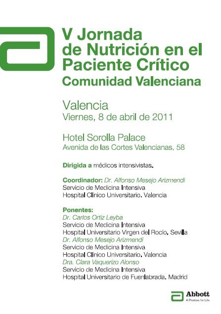 V jornada de nutricion paciente critico Comunidad Valencia sovamicyuc